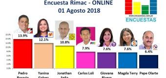 Encuesta Rímac, Online  – 01 Agosto 2018