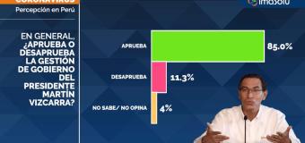 Aprobación de Martín Vizcarra subió a 85% en Marzo de 2020, según ImaSolu