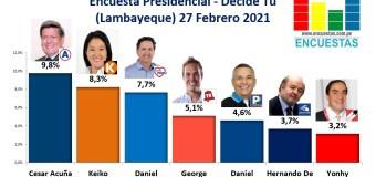 Encuesta Presidencial, Decide Tú – (Lambayeque) 27 Febrero 2021