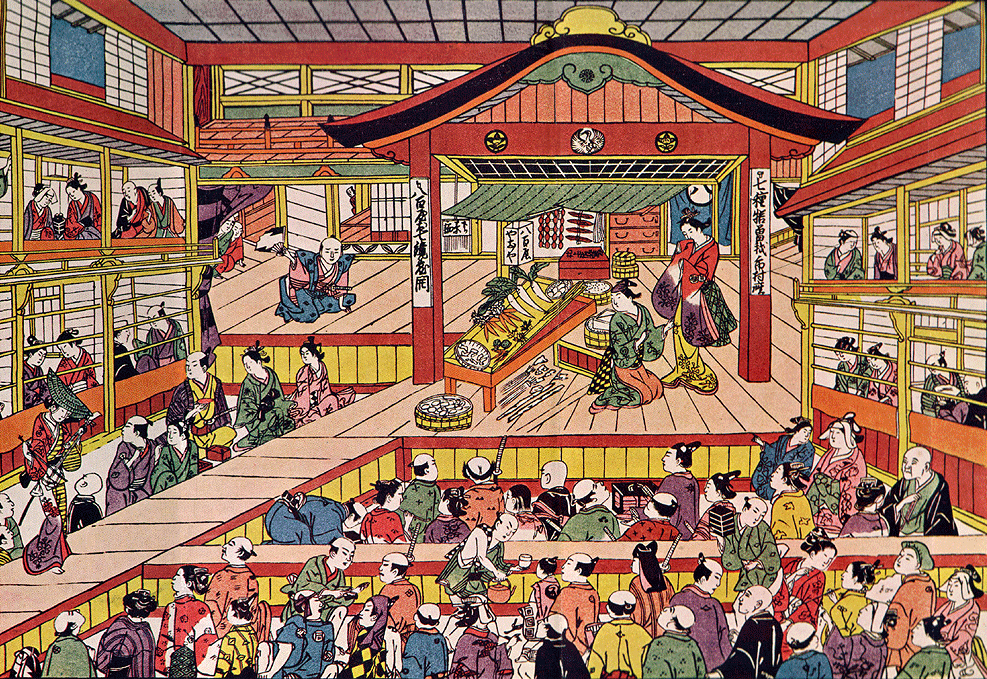 Shibai Ukie by Masanobu Okumura, depicting the Kabuki theater Ichimura-za in its early days.