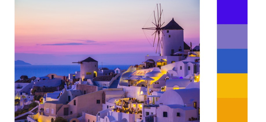 santorini sunset colour palette