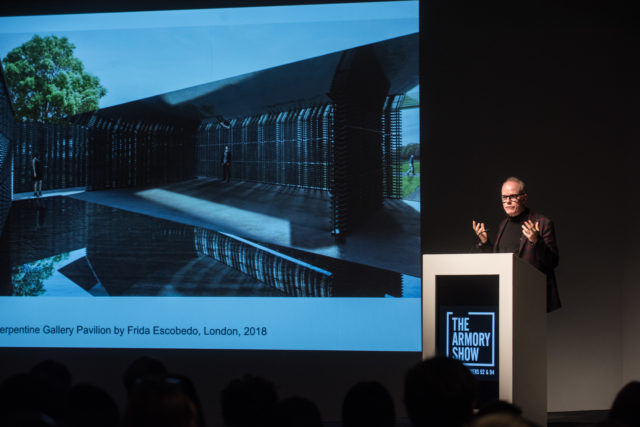 Hans Ulrich Obrist delivering his keynote at The Armory Show