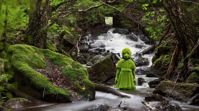 Moss girl standing in water
