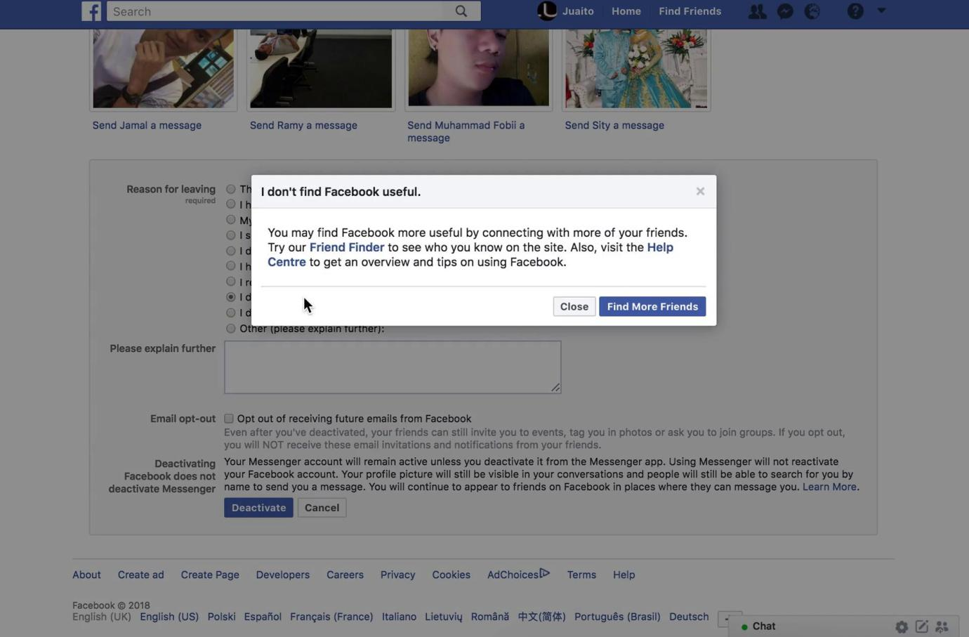 A modal showing a possible solution to our issue with Facebook that's causing us to deactivate
