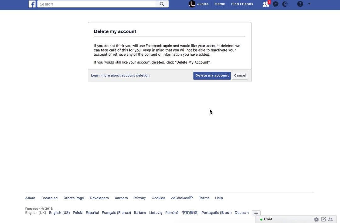 Facebook's account deletion page
