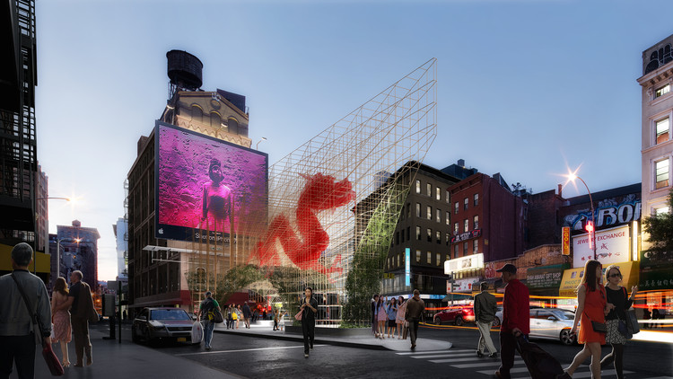 """ODA Unveils Images of Bamboo-Inspired """"Dragon Gate"""" for New York's Chinatown, Courtesy of ODA New York"""