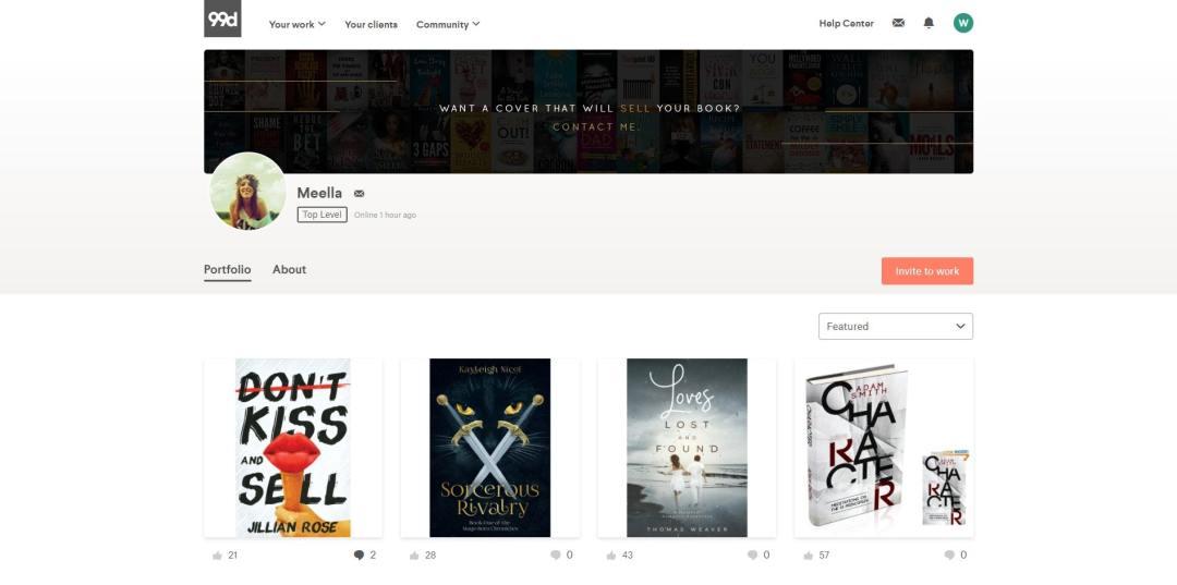 portfolio of book cover designer meella