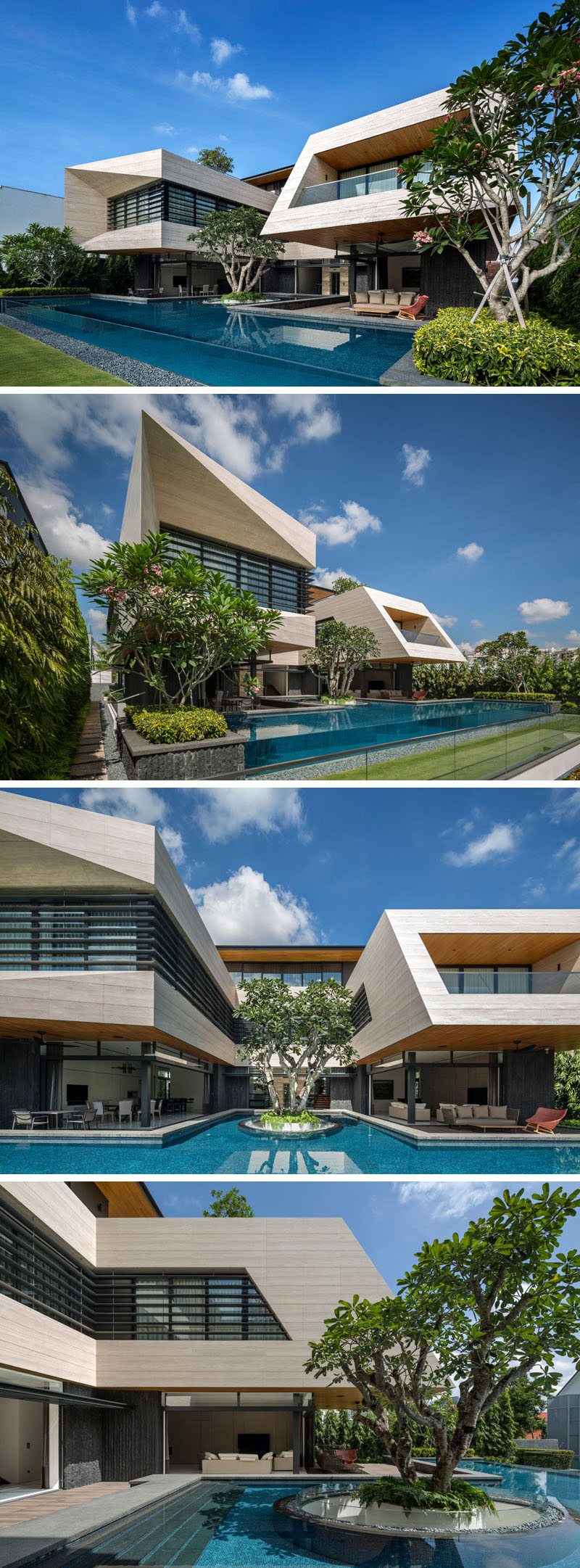 This modern house has a large pool with asingle Frangipani tree floating in the swimming pool, and the floating planter allows daylight and natural ventilation to the garage below. #SwimmingPool #Landscaping