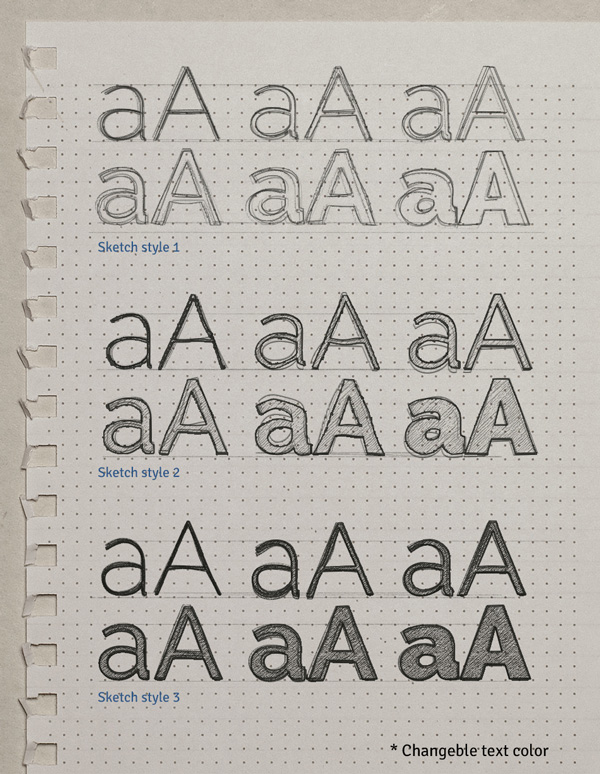 Sketch Text Effect Graphic PSD