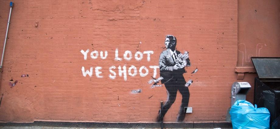 Banksy mural NYC - You Loot We Shoot