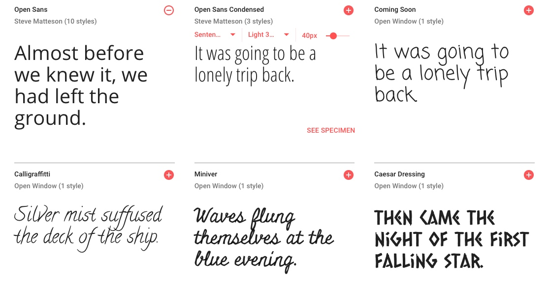 Examples of a selection of typefaces