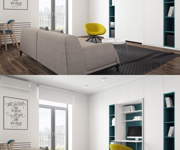 White living room decor with yellow chair