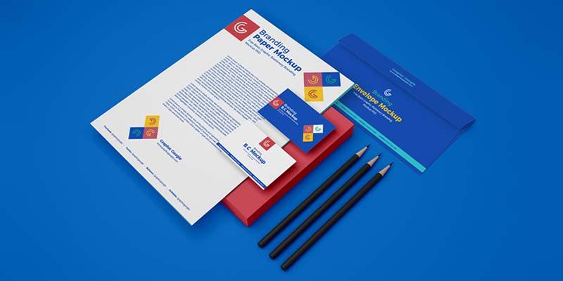 Graphic Stationery Branding Mockup (PSD)