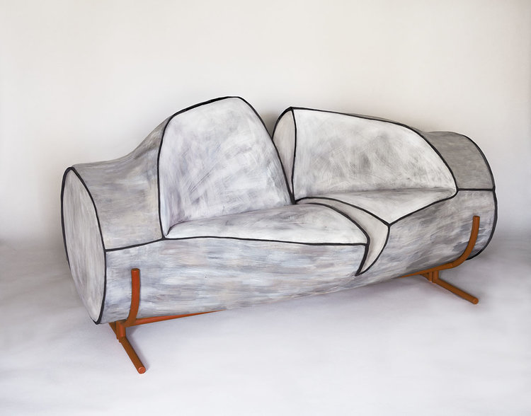 Contemporary Slashed Foam Sofa On Powder Coated Steel Frame And Legs