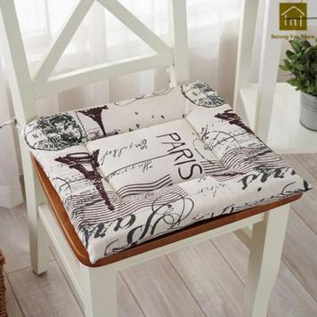 A Paris, France patterned chair cushion with attachments