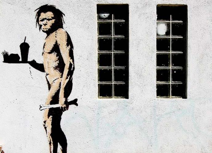 Banksy apeman with Burger and Fries