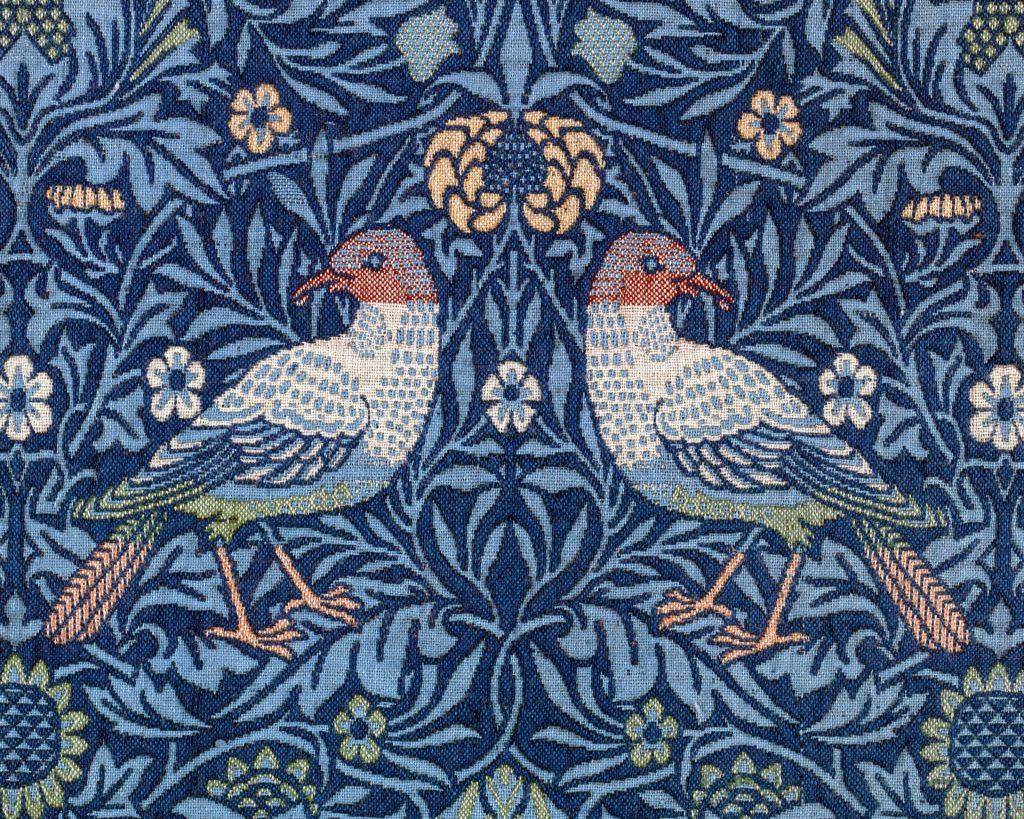 Floral bird vintage textile art nouveau
