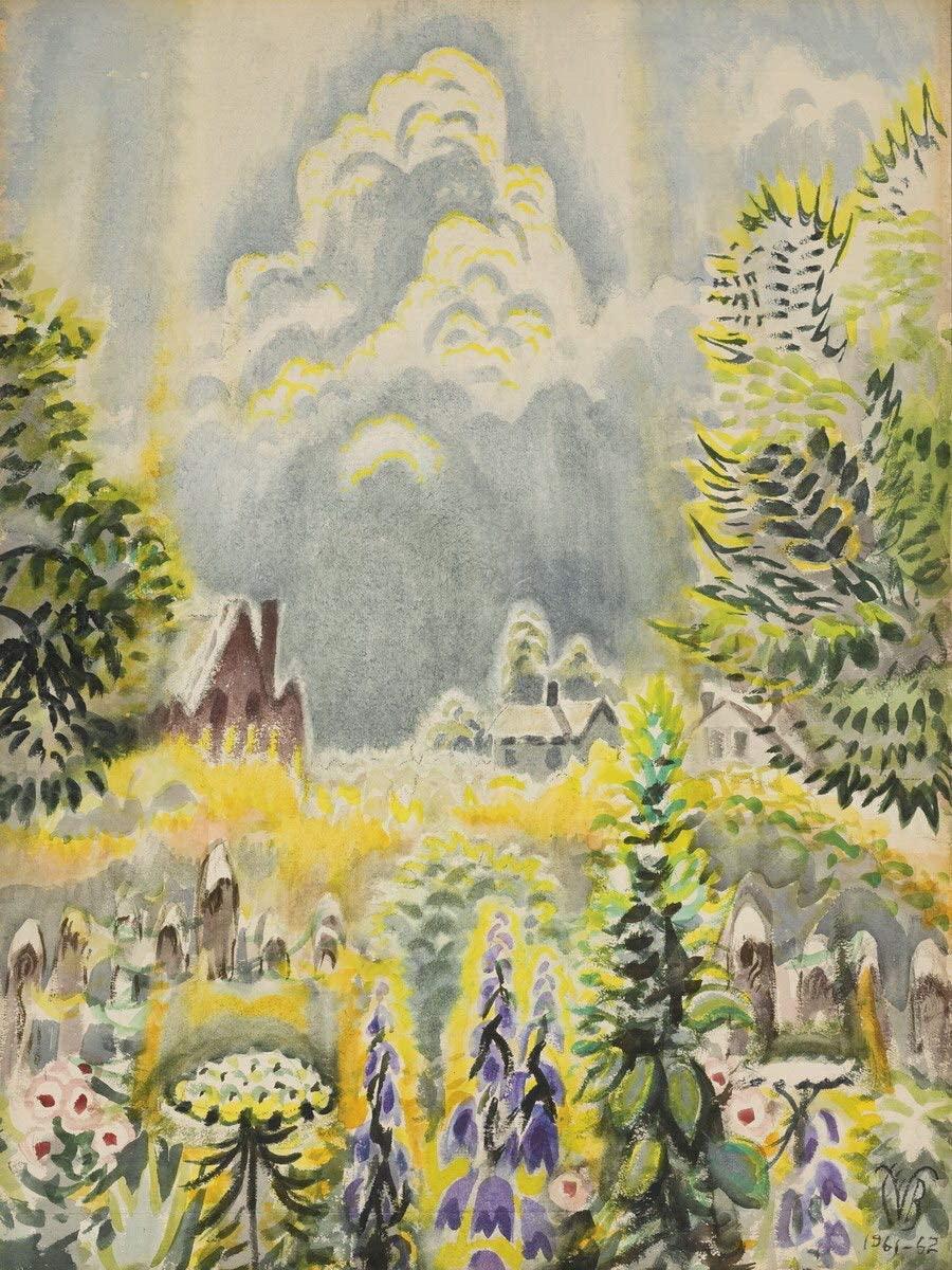 Flower Garden And Pillar Of Cloud (1962) by Charles Burchfield Art Print