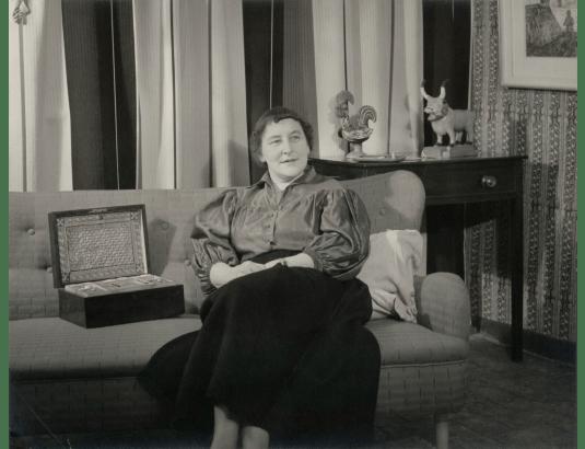Marianne Straub  by Geoffrey Ireland bromide print on card mount, 1950s