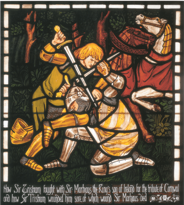 The Fight between Tristram and Sir Marhaus stained glass designed by Dante Gabriel Rossetti