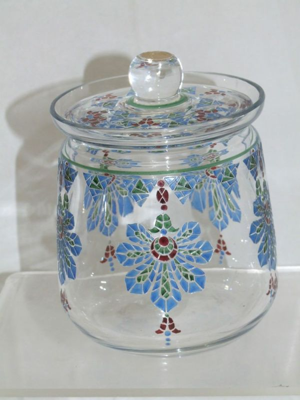 Webb Corbett art deco enamelled biscuit tin with the top lid.