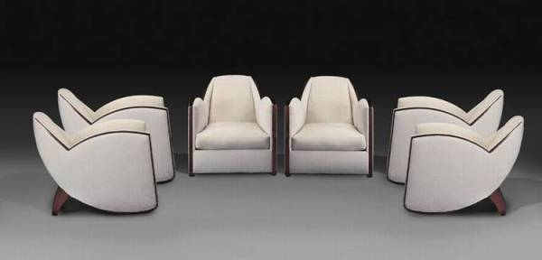 Jules Leleu set of chairs in white with brown trim