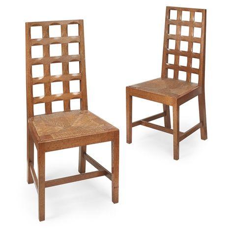 Pair of Oak backed lattice chairs by Peter van der Waals