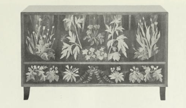 Cabinet with realistic inlay floral designs by Carl Malmsten