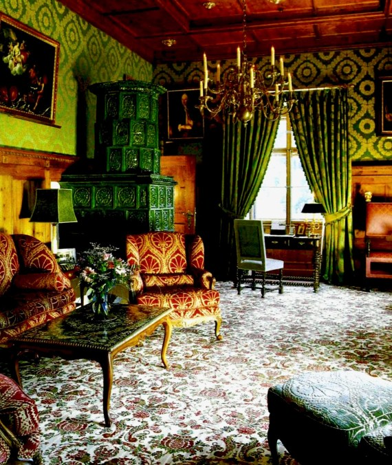 Schloss Blühnbach Castle- Koch selected a carpet with a 17 century pattern for his sitting room.