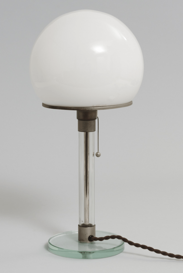 Metal and glass table lamp with opaline shade by Wilhelm Wagenfeld and Jakob Jucker, 1923-24