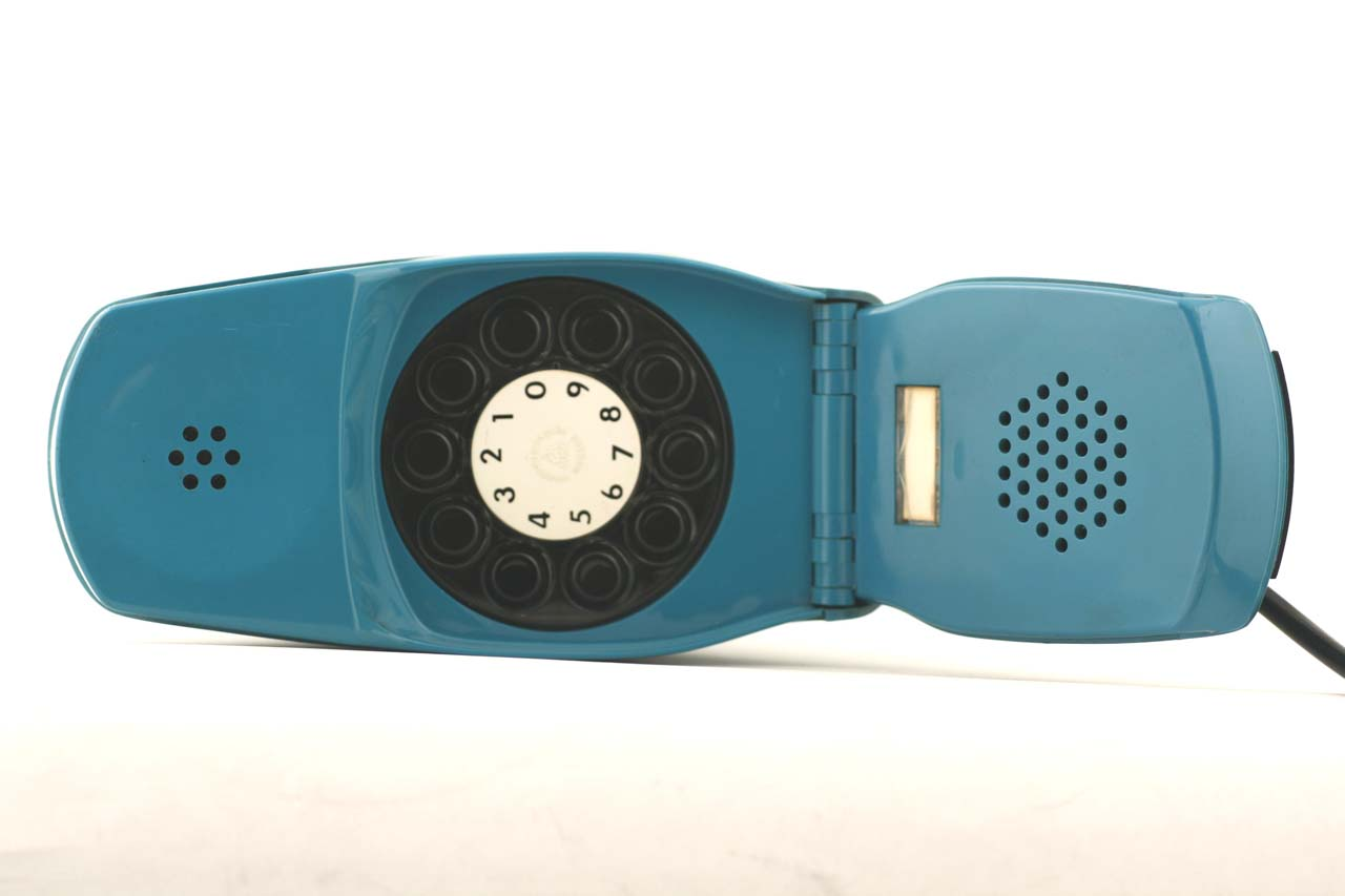 Grillo folding telephone in blue by marco Zanuso