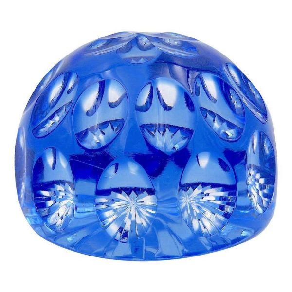 Vintage Blue Crystal Paperweight by Webb Corbett of England