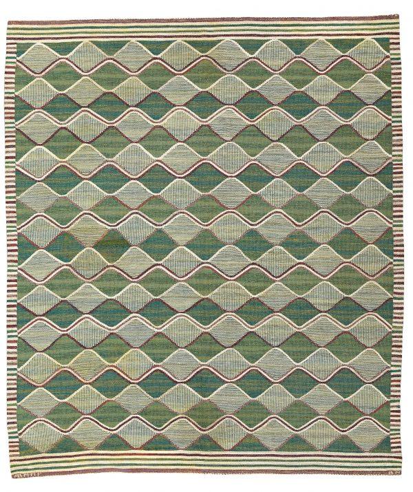"""A carpet, """"Grönspättan"""" (""""Spättan grön""""), flat weave, (AB Märta Måås-Fjetterström, Barbro Nilsson). Designed in 1943."""