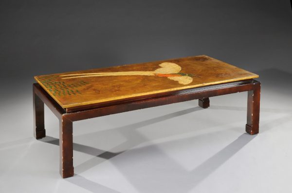 Coffee table with a rectangular top with pheasant wings decoration designed by Louis Misavaine