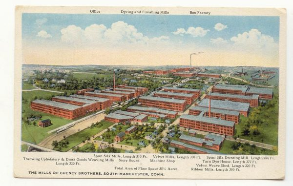 Cheney Brothers Mills, South Manchester, 1920, aerial view