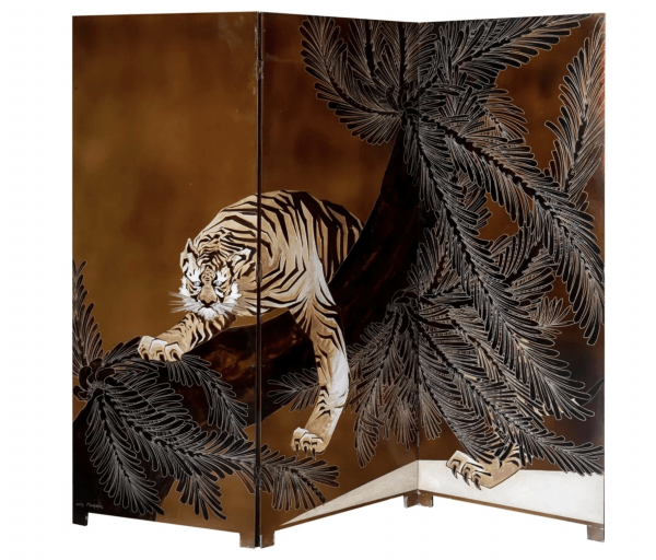A three-leaf articulated lacquered wood and lacquer torn with decoration of a Bengal tiger leaping from an overturned coconut palm. Designed by Louis Midavaine