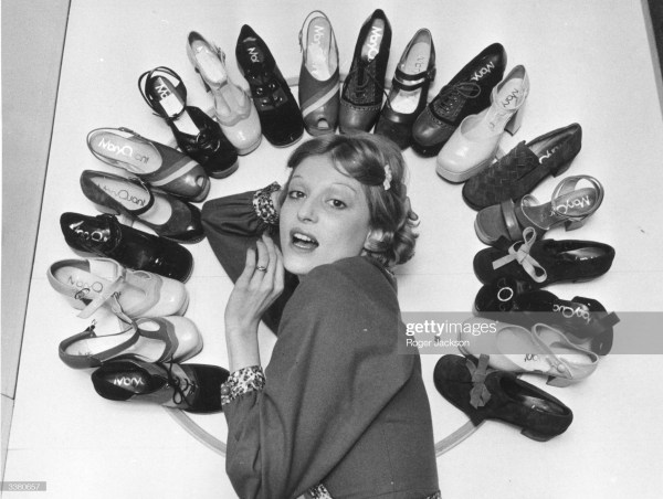 6th April 1972: Fashion model Ika posing with Mary Quant's new collection of shoes.