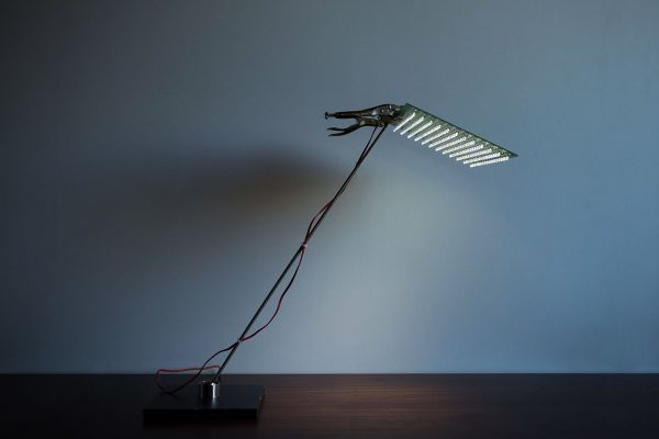 Table lamp EL-E-DEE in metal and stainless steel produced by Ingo Maurer in 2001