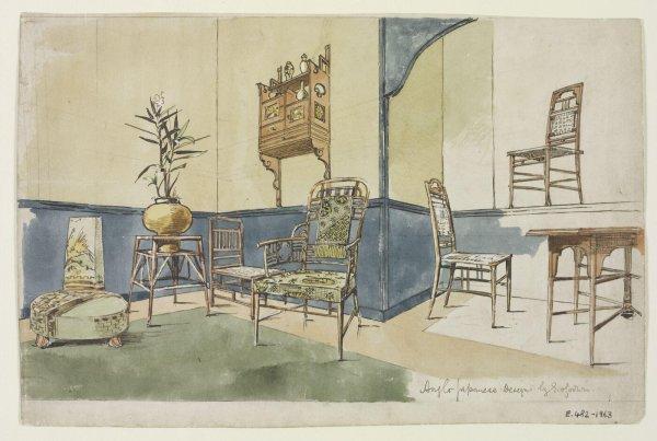 Interior design plans for Japanese inspired interiors by Edward William Godwin.