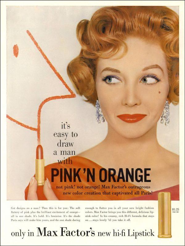 Max Factor Pink & Orange Lipstick ad 1958