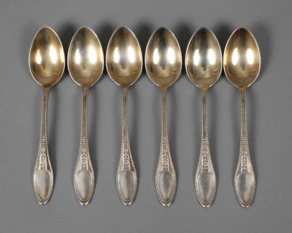 "Ernst Riegel, six mocha coffee spoons from the ""Myrtle Cutlery"""