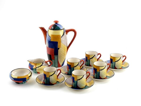 Cubist' a gray's pottery coffee set for six designed by Susie Cooper
