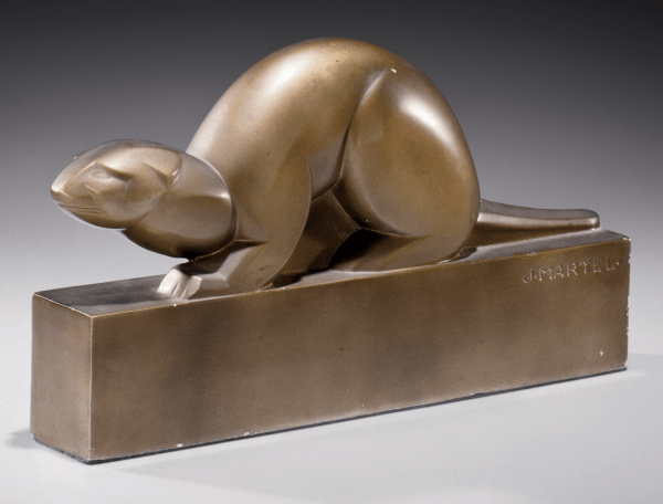 Hermine the 'Otter' created in bronze (1919) designed by Jan and Joël Martel