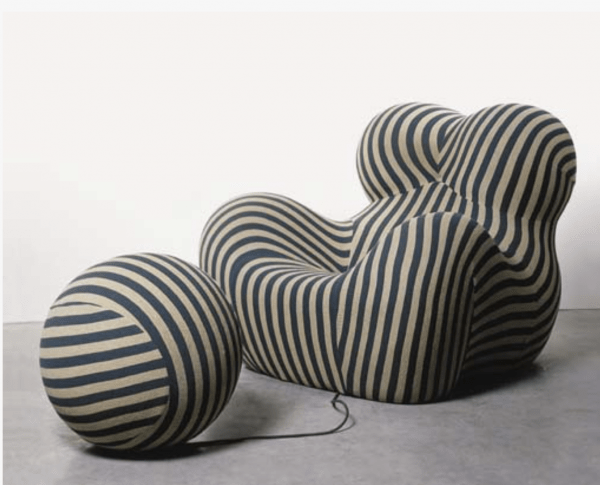 Up5 Donna and Up6 upholstered polyurethane foam and stretch fabric lounge chair and ottoman designed by Gaetano Pesce