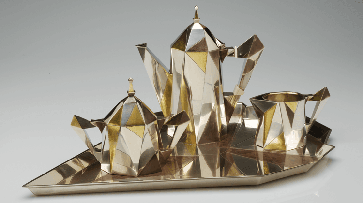 Cubic Coffee Service in Silver with patinated and gilt decoration, designed by Erik Magnussen