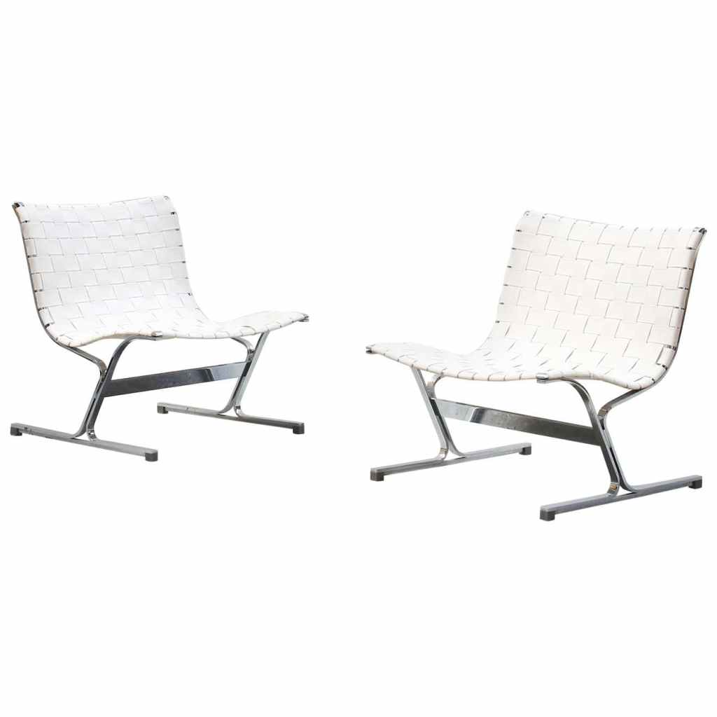 Pair of Italian Lounge Chairs by Ross Littell for ICF, Italy