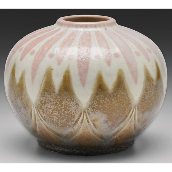 Emile Diffloth vase, round shape with stylized designs in pink
