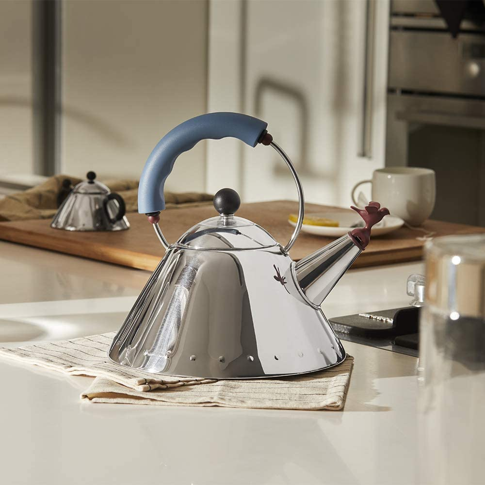 Alessi Kettle, 9'' H x 8.5'' W x 8.5'' D, Blue, 9093 By Michael Graves