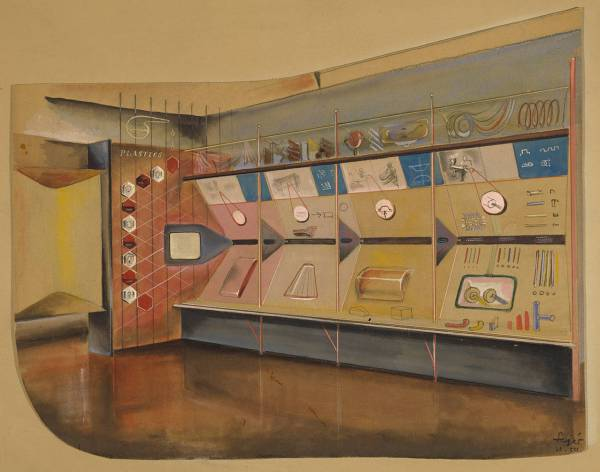 Presentation drawing showing a perspective view of a display area in the Plastics section of the Festival of Britain, George Fejér, 1951, UK. Museum no. E.770-1997. © Victoria and Albert Museum, London