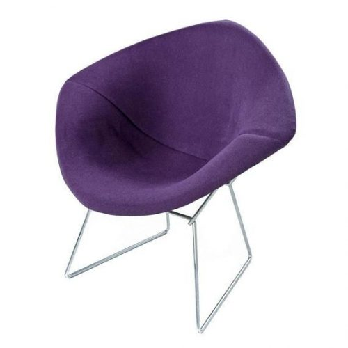 Pair of Restored AUTHENTIC Harry Bertoia for Knoll Diamond Chairs New Purple Fabric